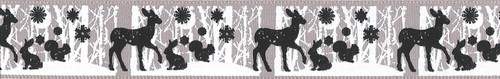 Woodland Animals on Pale Grey Ribbon, 25mm wide, Sold Per Metre