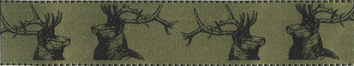 Stags on Soft Sage Satin Ribbon, 25mm wide (Sold Per Metre)