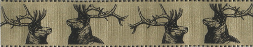 Stags on Soft Gold Satin Ribbon, 25mm wide (Sold Per Metre)