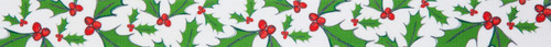 Holly Berry on White Christmas Ribbon, 25mm wide (Sold Per Metre)