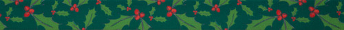 Holly Berry on Green Christmas Ribbon, 25mm wide (Sold Per Metre)