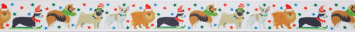 Festive Dogs on White Ribbon, 25mm wide (Sold Per Metre)