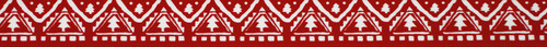 Red & White Nordic Christmas Tree Ribbon, 25mm wide (Sold Per Metre)
