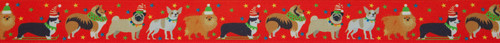 Festive Dogs on Red Ribbon, 25mm wide (Sold Per Metre)