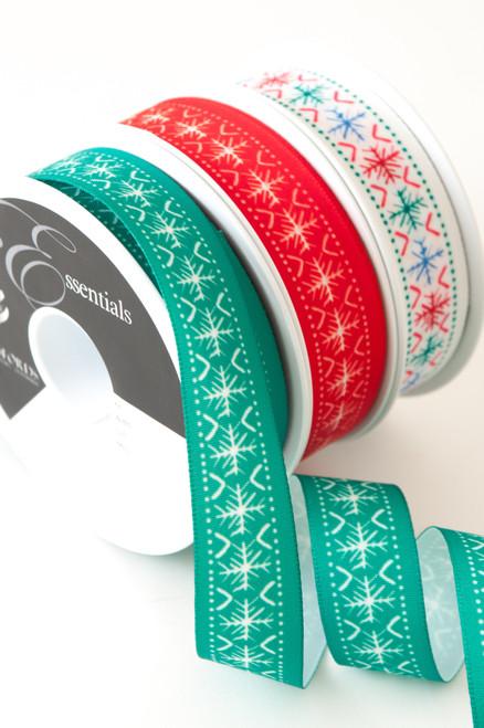 White Scandi Flake on Green Ribbon, 25mm wide, Sold Per Metre