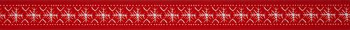 White Scandi Flake on Red Ribbon, 25mm wide, Sold Per Metre