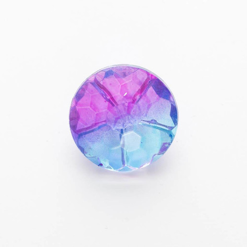 Blue & Purple Ombre Rainbow Faceted Buttons, 15mm Diameter, Sold Individually