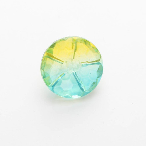 Turquoise & Lime Ombre Rainbow Faceted Buttons, 15mm Diameter, Sold Individually