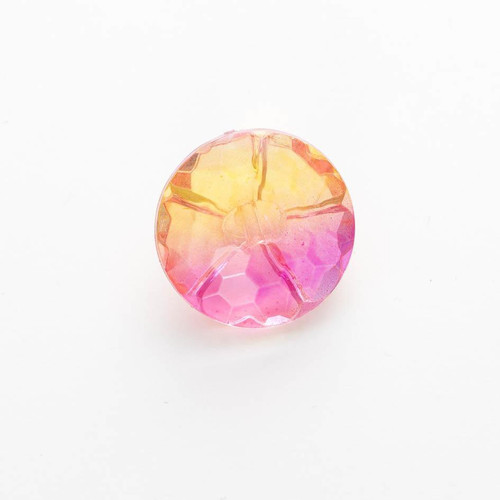 Pink & Orange Ombre Rainbow Faceted Buttons, 15mm Diameter, Sold Individually