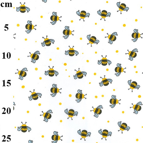 Bumble Bees on White Polycotton Fabric, 43in wide, Sold Per HALF Metre