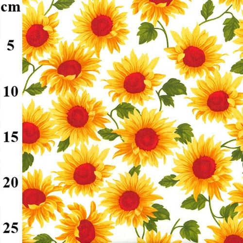Sunflowers on Ivory 100% Cotton Poplin Fabric, 110cm/43in wide, Sold Per HALF Metre
