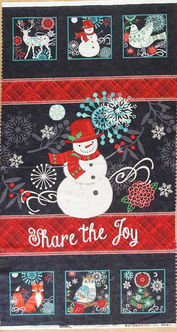 Chalkboard Snowman Share the Joy Christmas Quilting Panel