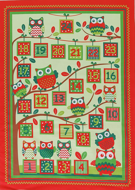 Happy Owl Christmas Advent Calendar Panel