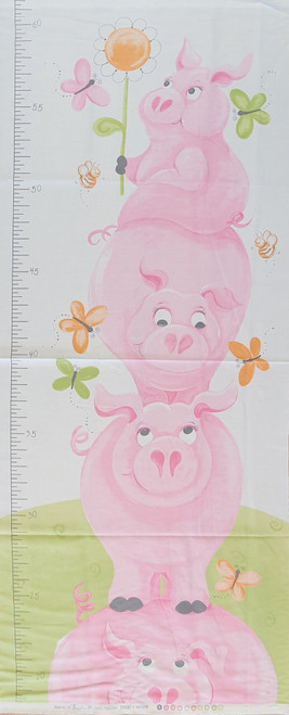 Pink Piggy Height Growth Chart Quilting Panel