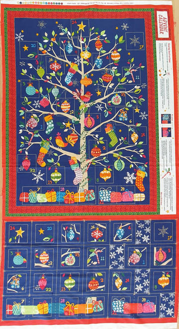 Present Tree on Blue Christmas Advent Calendar Panel