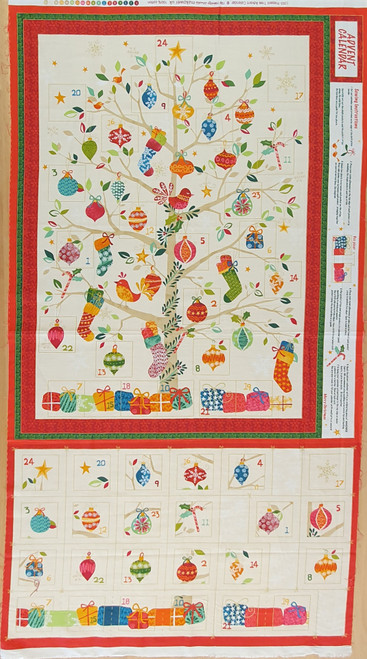Present Tree on Cream Christmas Advent Calendar Panel