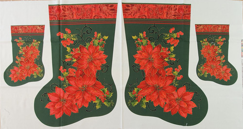 Red Poinsettia on Green Christmas Stocking Panel