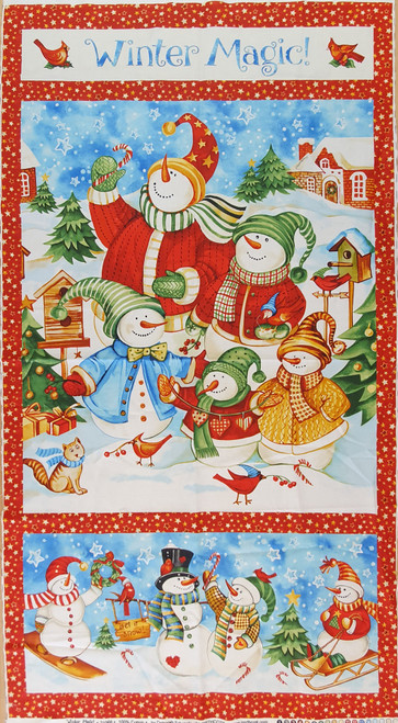 Winter Magic Festive Snowmen Quilting Panel