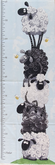Woolly Heights Sheep Height Growth Chart Quilting Panel
