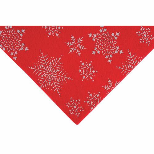 Silver Snowflakes on Red Felt Sheet (23cm x 30cm)