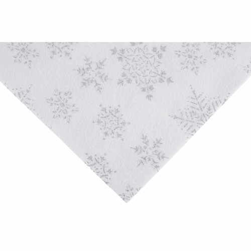 Silver Snowflakes on White Felt Sheet (23cm x 30cm)