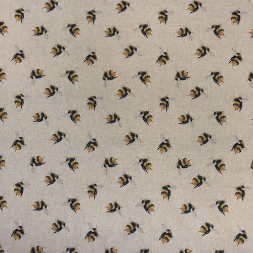 Bumble Bee Digital Print on Natural Linen-Look Panama Fabric, 140cm wide, Sold Per HALF Metre