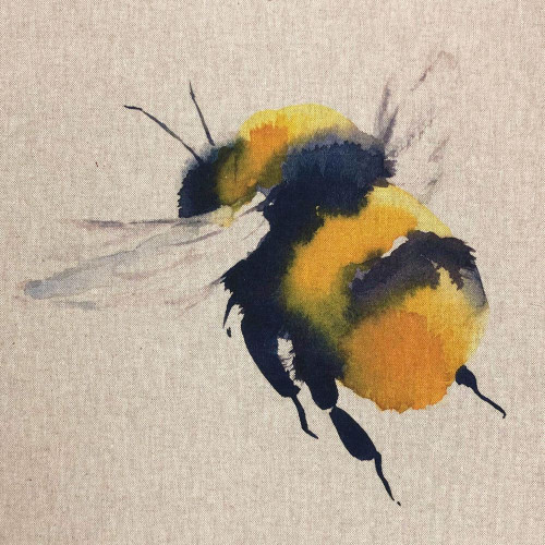 Giant Bumble Bee on Natural Linen-Look Panel, 45cm/18in Square, Sold Per Panel