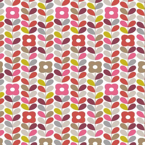 Modern Flowers Printed PVC Wipe-Clean Tablecloth Fabric, Sold Per HALF Metre