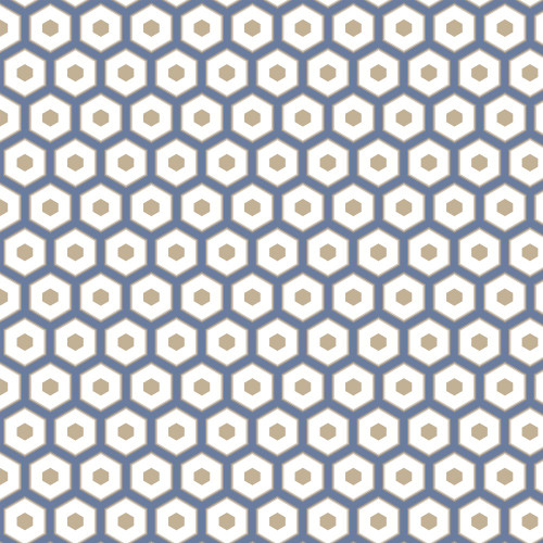 Honeycomb Blue Printed PVC Wipe-Clean Tablecloth Fabric, Sold Per HALF Metre