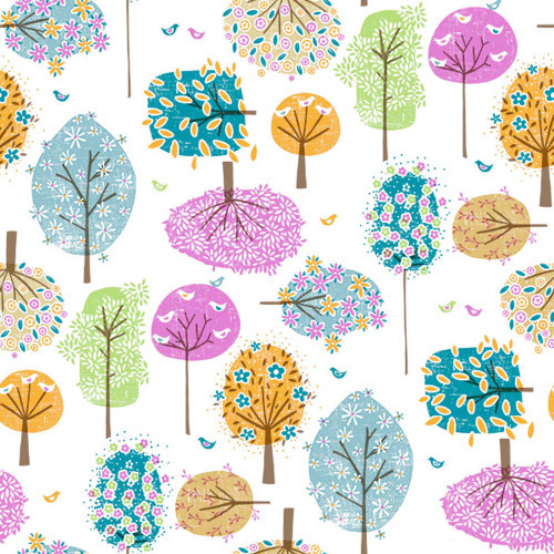 Colourful Trees Printed PVC Wipe-Clean Tablecloth Fabric, Sold Per HALF Metre