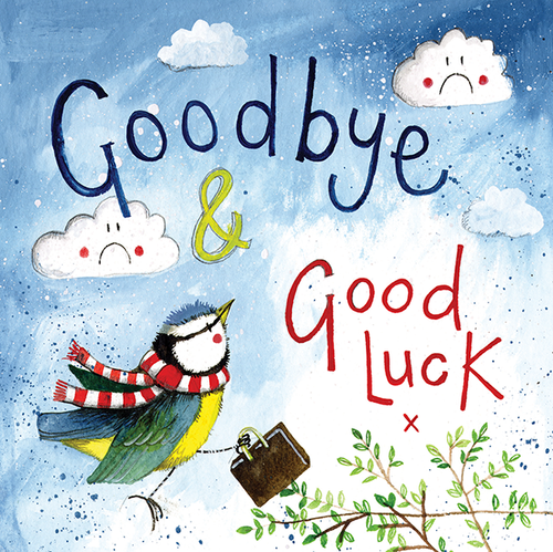 Lucky Blue Tit Goodbye & Good Luck Card