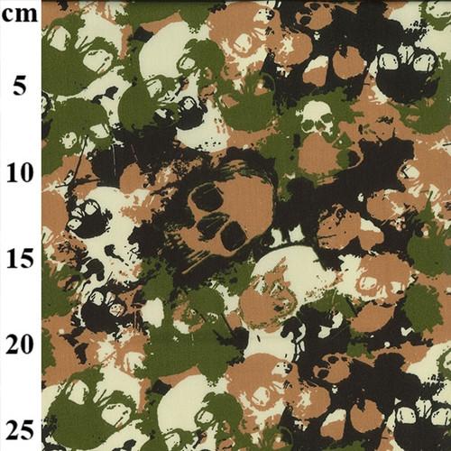 """Skull """"Jungle"""" Camouflage 100% Cotton Poplin Fabric, 110cm/43in wide, Sold Per HALF Metre"""