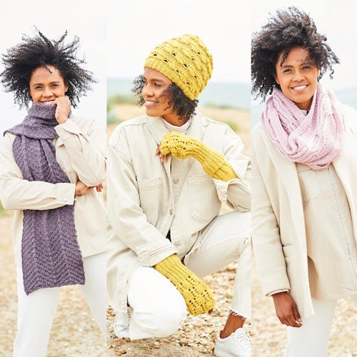9818 Ladies Hats, Scarf & Mitts Softie Chunky Knitting Pattern