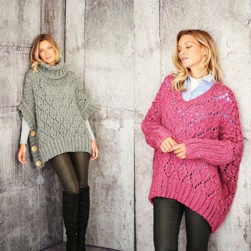 9807 Sweater & Poncho in Special XL Tweed Super Chunky- 32/34 -48/50 in Chest