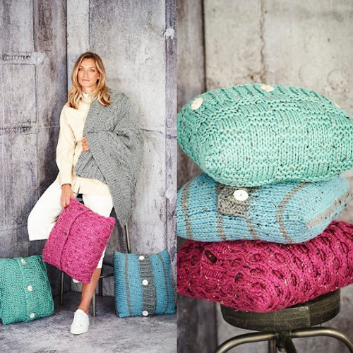 9811Blanket & Cushions in Special XL Tweed Super Chunky