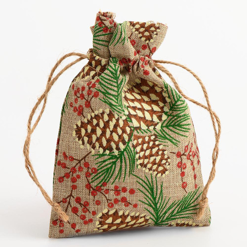 Christmas Pine Cone Hessian Drawstring Gift Bag, 140mm x 100mm