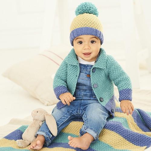 9757 - Cardigan, Hat & Blanket in Dk - Birth to 7yrs