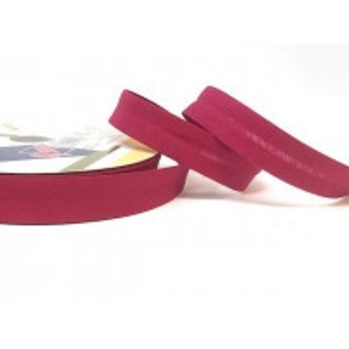 Wine Polycotton Bias Binding, 18mm wide, Sold Per Metre