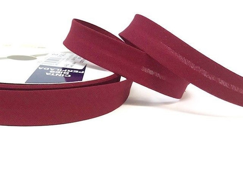 Burgundy Plain Polycotton Bias Binding, 18mm wide, Sold Per Metre