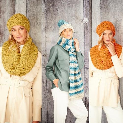 9805 Ladies & Teens Hat, Scarf  & Snood Super Chunky- Size S-M-L
