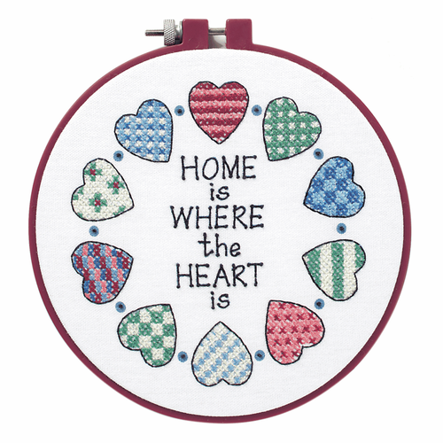 "Home & Heart ""Home is where the Heart is"" Learn-a-Craft Counted Cross Stitch Kit with Hoop"