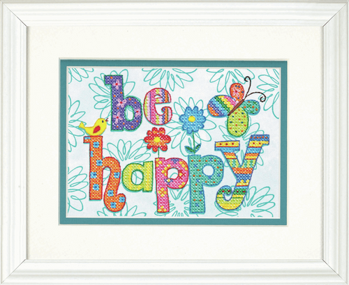 Be Happy Stamped Cross Stitch Kit