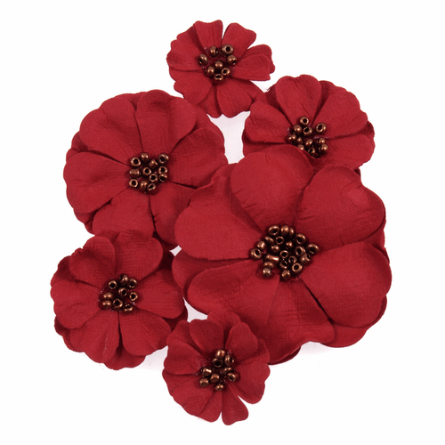 Red Poppy Paper Craft Embellishments (6pc)