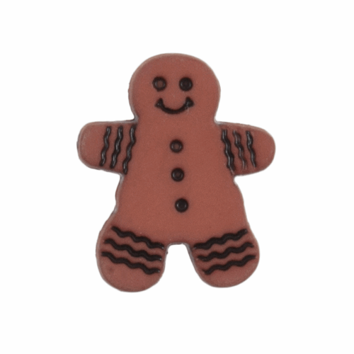 Gingerbread Man Novelty Christmas Buttons, Sold Individually