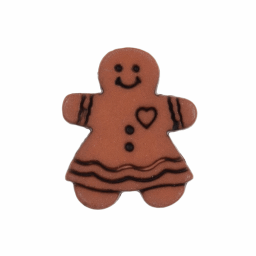Gingerbread Woman Novelty Christmas Buttons, Sold Individually