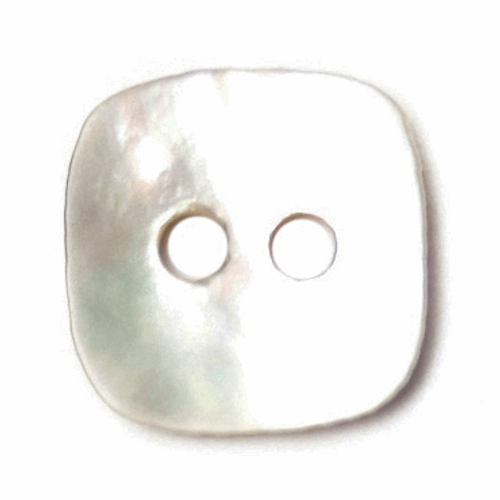 Natural White Rounded-Edge Square Mother of Pearl Buttons, 11mm, Sold Individually
