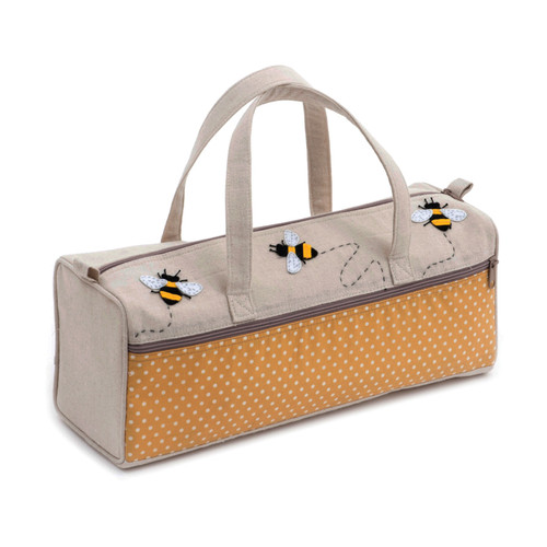 Bee Appliqué Linen Knitting Bag with Zipped Side Pocket