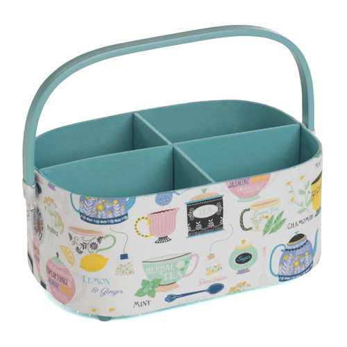 Time for Tea Medium Craft Organiser with PVC Handle & Removable Partitions