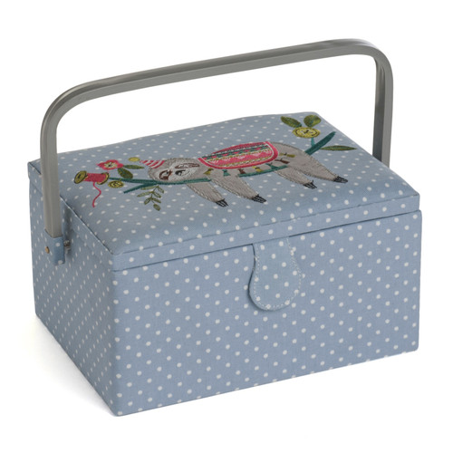 Sloth Embroidered Medium Sewing Box with Inner Accessory Tray
