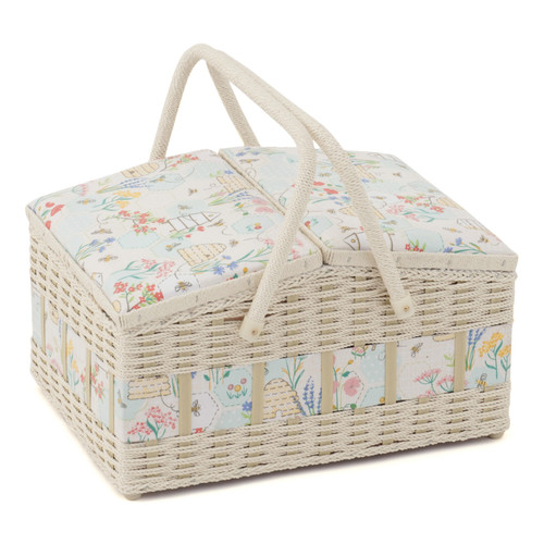 Sewing Bee Large Twin-Lid Sewing Basket with Inner Accessory Trays